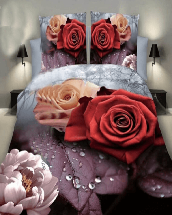 High Quality 3D Gray with Red Flowerd Printed BedSheet - 3 Pieces Set