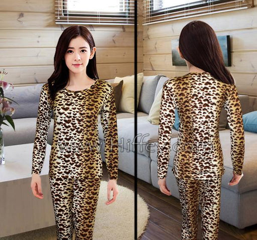 Ladies Thermal Innerwear Set and Loungwear - Leopard Print - Hiffey
