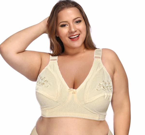 Capri Plus Size Embroidered Non Padded Cotton - Cream