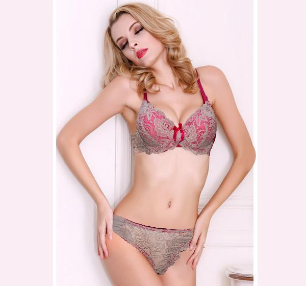Skin Net & Pink Lace Padded Push Up Wired Bra for Ladies - Hiffey