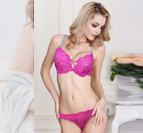 Pink Net & Skin Lace Padded Push Up Wired Bra for Ladies