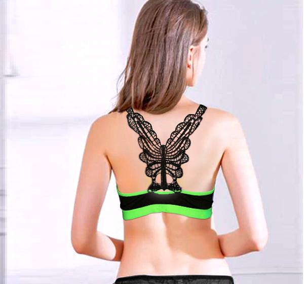Black Sports Soft Padded Gym Bra with Green Lace for Ladies - Hiffey