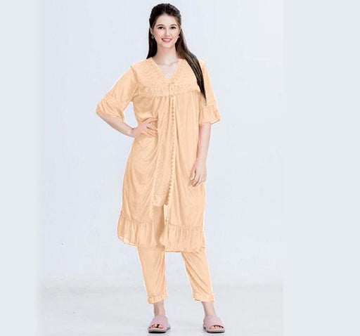 Orange Nightwear Silk Satin Night Suit for Ladies - 3 Pieces - Hiffey