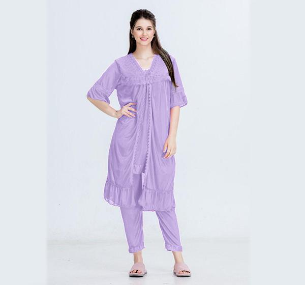 Purple Nightwear Silk Satin Night Suit for Ladies - 3 Pieces
