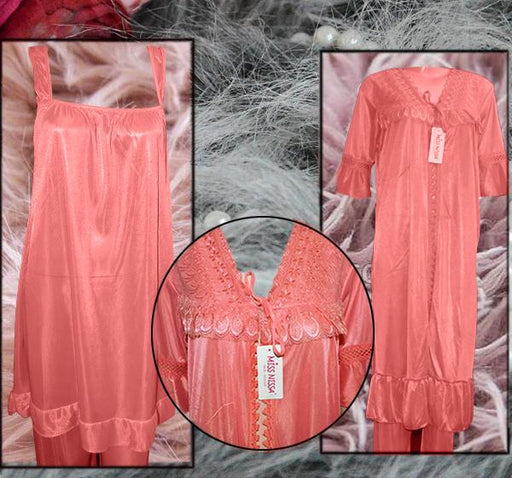 Rose Pink Nightwear Silk Satin Night Suit for Ladies - 3 Pieces - Hiffey