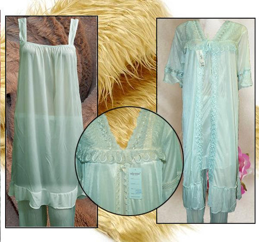 Sea Green Nightwear Silk Satin Night Suit for Ladies - 3 Pieces - Hiffey