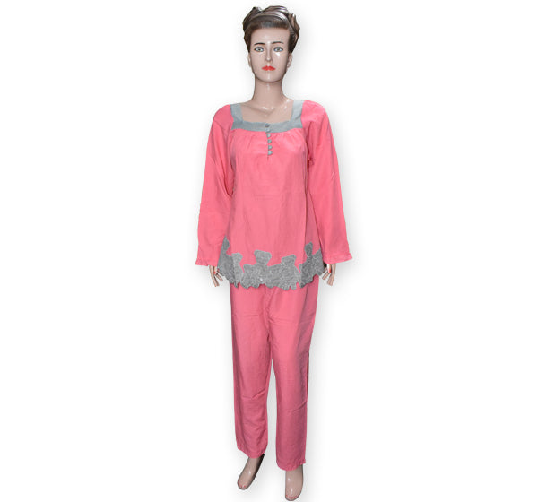 Women's Cotton Pajama Suit Long Sleeves Comfort Sleepwear - Peach - Hiffey