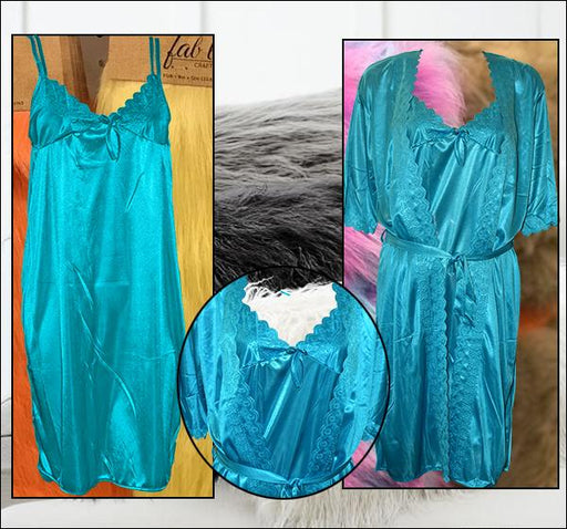 2 Piece Night Gown - Sky Blue - Hiffey