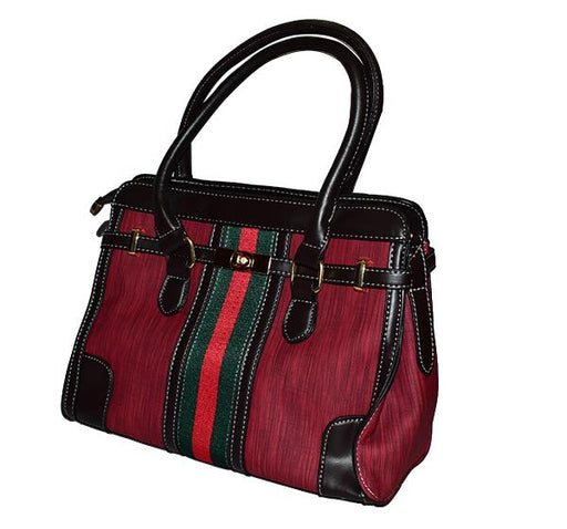 Gucci Classic PU Leather Handbag for Ladies - Maroon - Hiffey