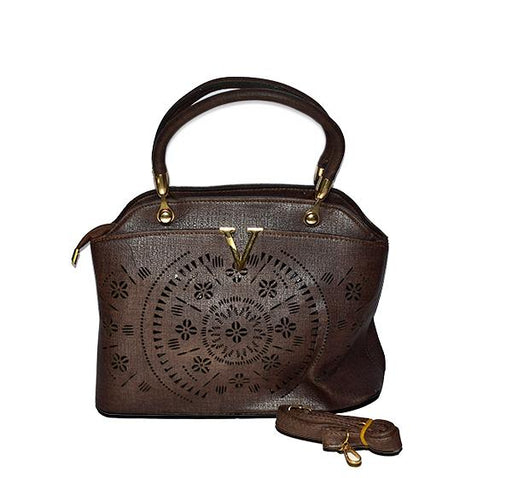 Laser Cut Tote Handbags for Ladies - Brown - Hiffey