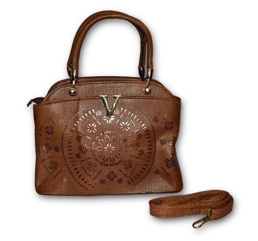 Laser Cut Tote Handbags for Ladies - Chocolate Brown - Hiffey