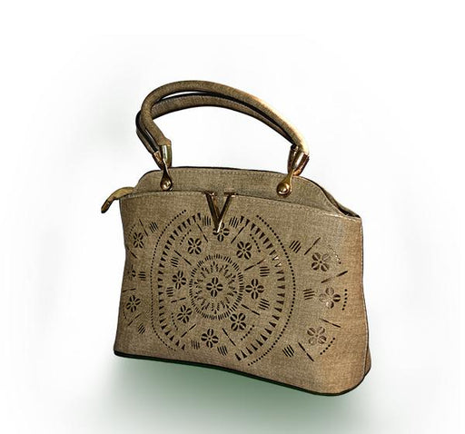 Laser Cut Tote Handbags for Ladies - Khaki - Hiffey