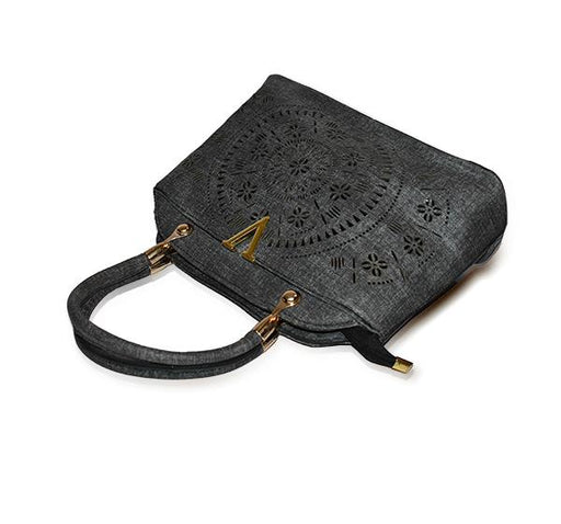 Laser Cut Tote Handbags for Ladies - Dark Gray - Hiffey
