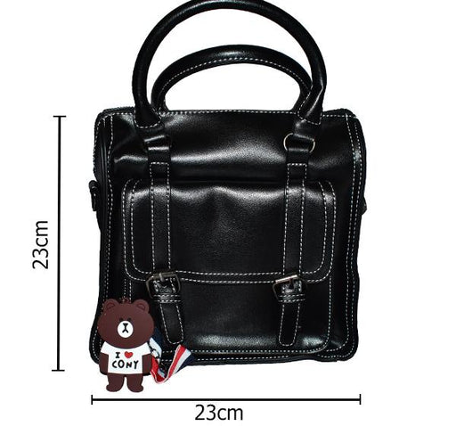Fashion Tote PU Leather Bag for Ladies - Black - Hiffey