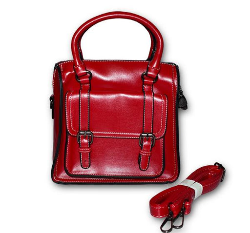 Fashion Tote PU Leather Bag for Ladies - Maroon - Hiffey