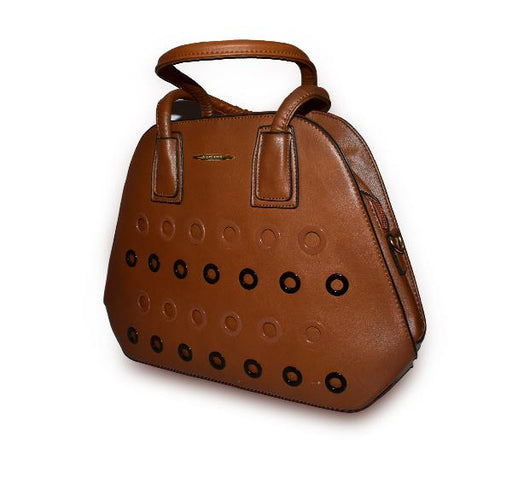 Round Hole Design Handbag with Wallet for Ladies - Brown - Hiffey