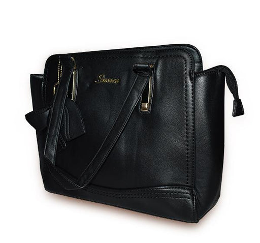 Classic PU Leather Handbag with Wallet for Ladies - Black - Hiffey
