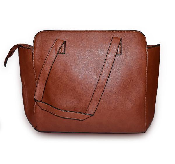 Classic PU Leather Handbag with Wallet for Ladies - Brown - Hiffey