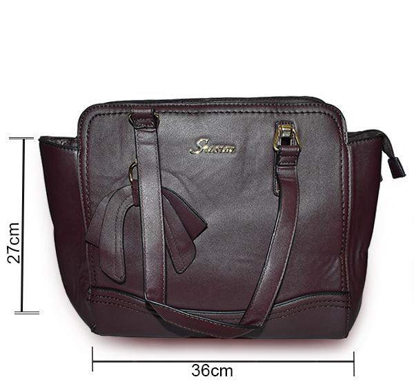 Classic PU Leather Handbag with Wallet for Ladies - Dark Brown - Hiffey
