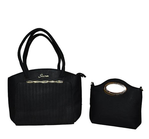 Classy Tote Handbag with Mini Bag for Ladies - Black - Hiffey