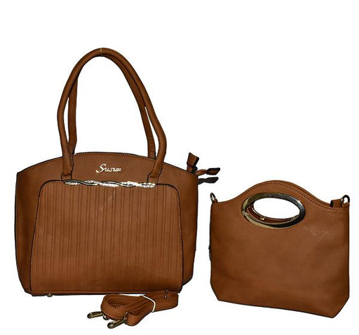 Classy Tote Handbag with Mini Bag for Ladies - Brown - Hiffey