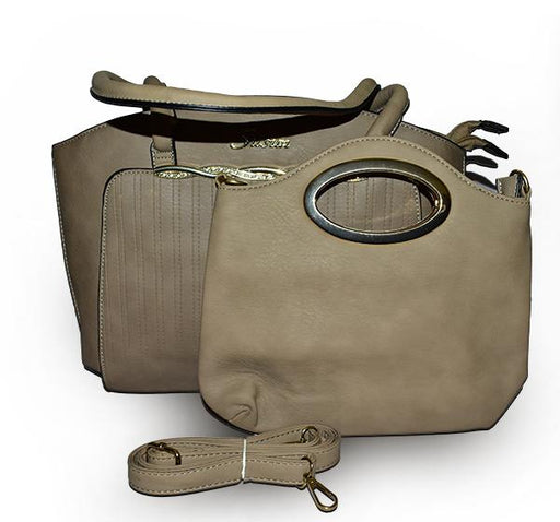 Classy Tote Handbag with Mini Bag for Ladies - Beige - Hiffey
