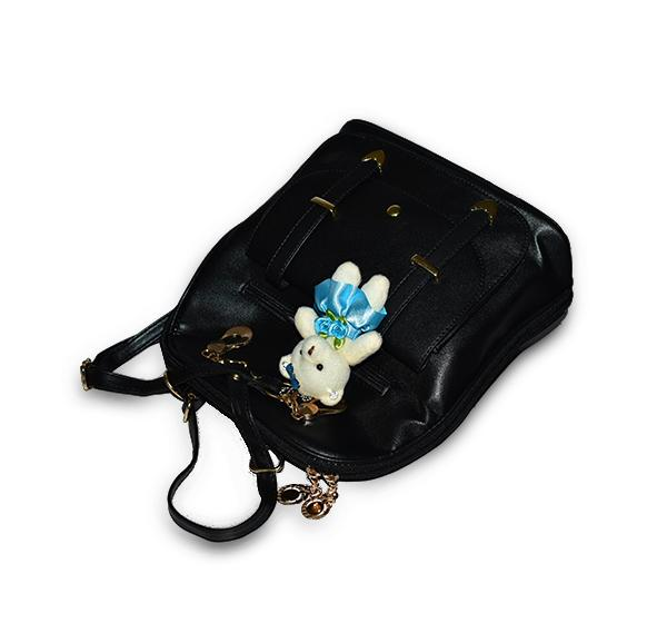 Sweet PU Leather School College Travel Bag for Girls with Hanging Bear - Black - Hiffey