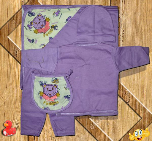 Teddy Newborn Baby Clothes Gift Set - Purple - Hiffey