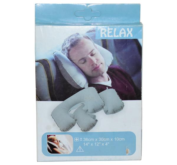 Air Filled Travel Pillow - Grey - Hiffey