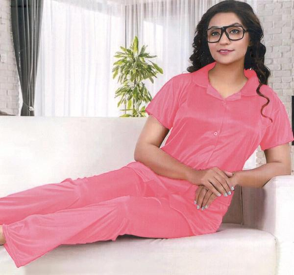 Silk Satin Nightwear Dress for Ladies - Light Pink - Hiffey