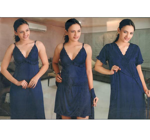 4 Piece Silk Bridal Navy Blue Nighty - 5236 - Hiffey