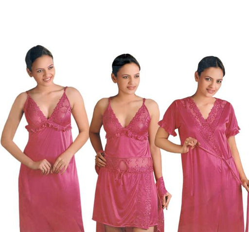 4 Piece Silk Bridal Dark Pink Nighty - 5236 - Hiffey
