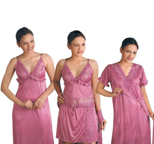 4 Piece Silk Bridal Purple Nighty - 5236 - Hiffey