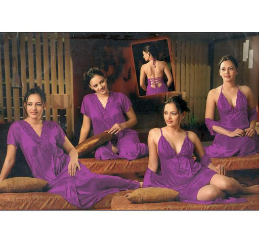 4 Piece Silk Bridal Purple Nighty - 5246 - Hiffey