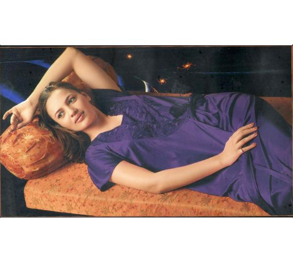 4 Piece Silk Bridal Navy Blue Nighty - 5245 - Hiffey
