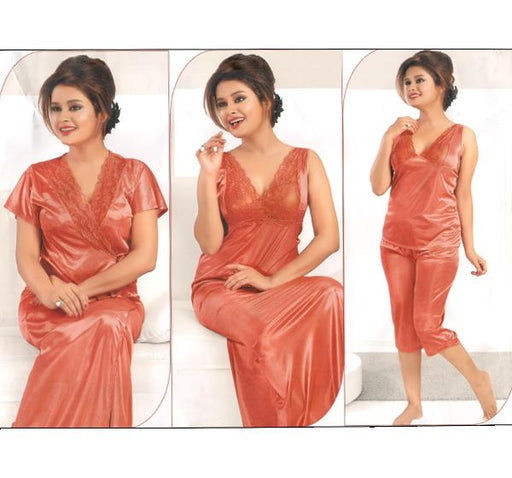 4 Piece Silk Bridal Peach Nighty - 2211 - Hiffey