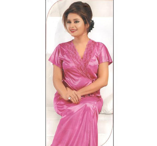 4 Piece Silk Bridal Pink Nighty - 2211 - Hiffey