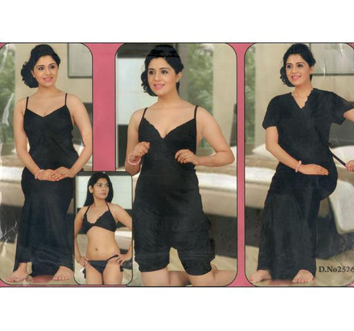 6 Piece Silk Bridal Black Nighty - 2526 - Hiffey