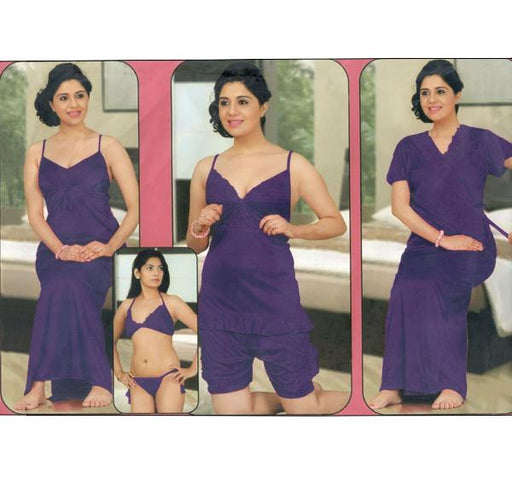 6 Piece Silk Bridal Purple Nighty - 2526 - Hiffey