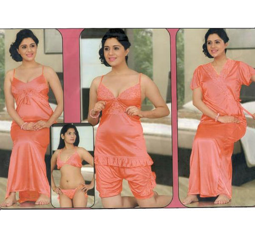 6 Piece Silk Bridal Peach Nighty - 2526 - Hiffey