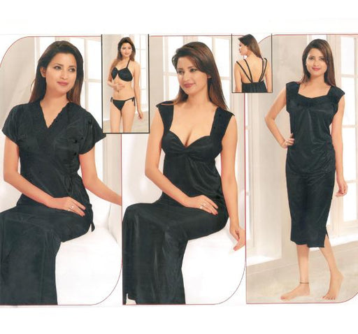 6 Piece Silk Bridal Black Nighty - 2226 - Hiffey