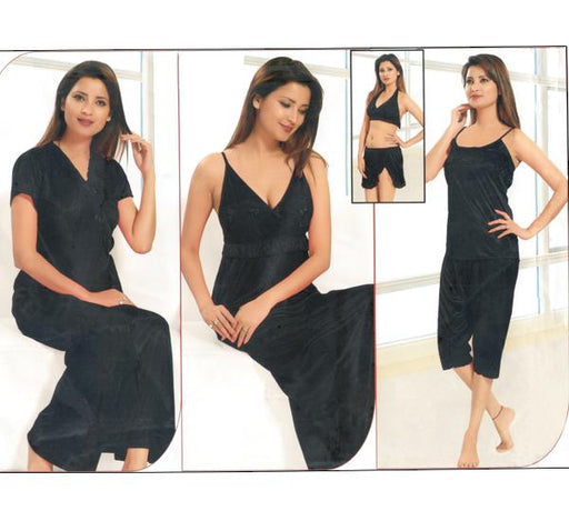 6 Piece Silk Bridal Black Nighty - 2224 - Hiffey