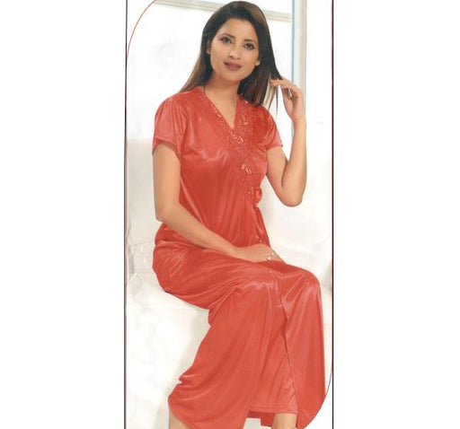 6 Piece Silk Bridal Orange Nighty - 2224 - Hiffey