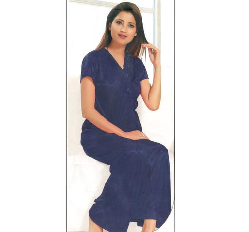 6 Piece Silk Bridal Navy Blue Nighty - 2224 - Hiffey
