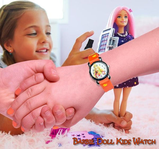 Orange Analog Watch For Kids- Barbie - Hiffey