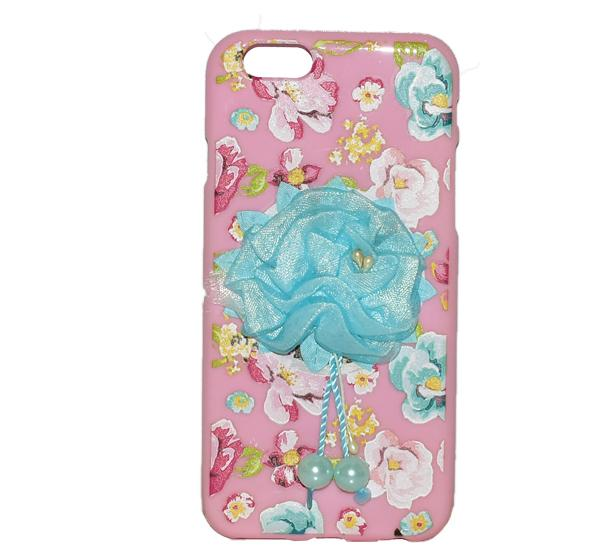 iPhone 6G - Fancy Blue Flower Ribbon Mobile Cover - Pink - Hiffey