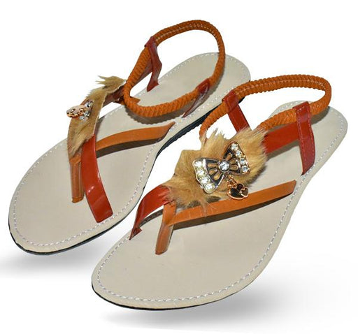 Fancy Fur Style Brown Sandal for Ladies - Hiffey