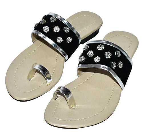 Fancy Black Thumb Style Chappal for Ladies - Hiffey
