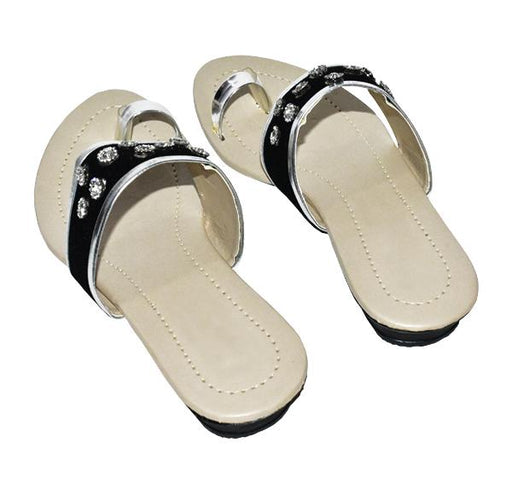 Fancy Black Thumb Style Chappal for Ladies
