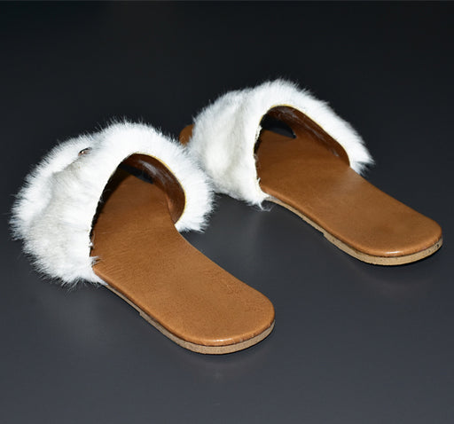 White Fur Stylish Footwear for Ladies - Hiffey